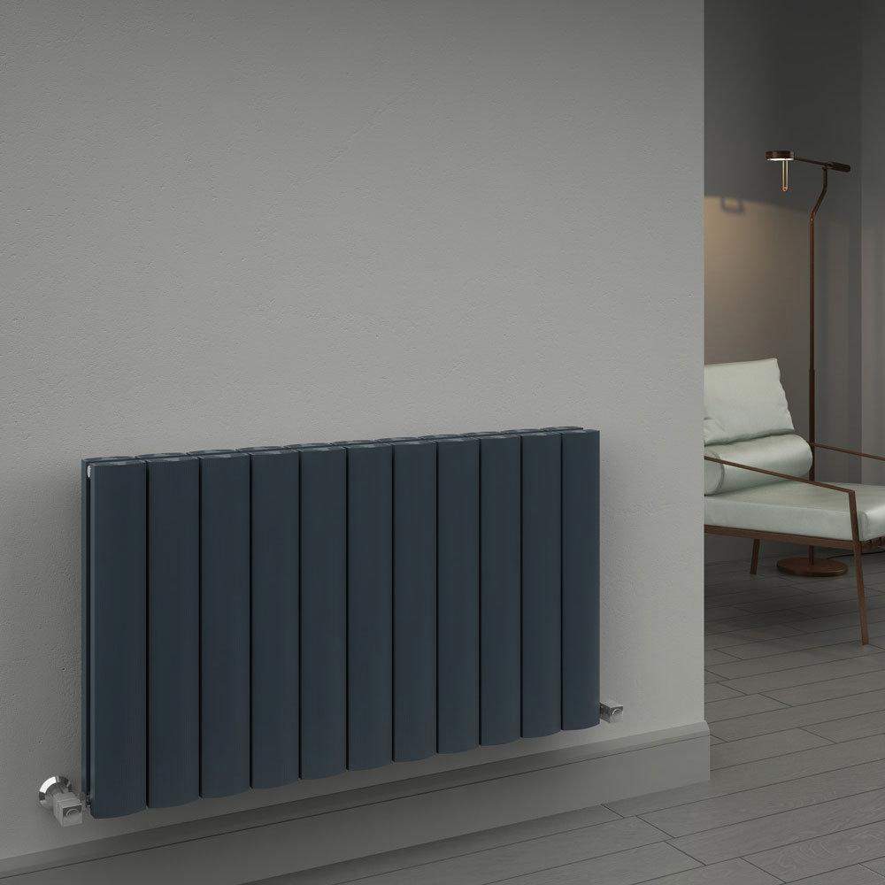 Reina Greco Horizontal Double Panel Aluminium Radiator - Polished profile large image view 2