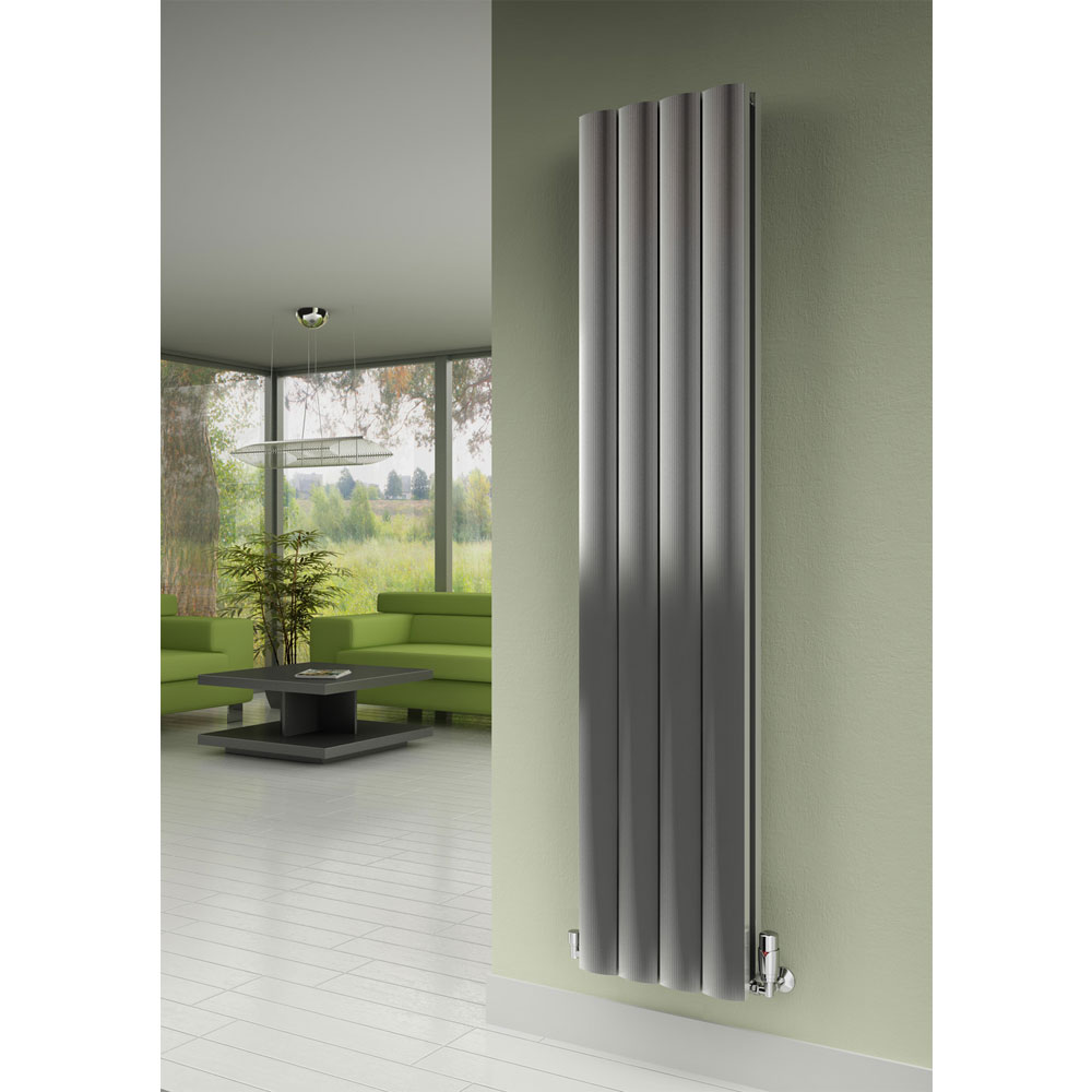 Reina Greco Vertical Double Panel Aluminium Radiator - Polished Profile Large Image