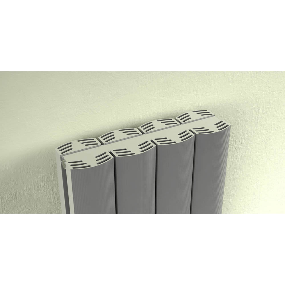 Reina Greco Vertical Double Panel Aluminium Radiator - Polished Feature Large Image
