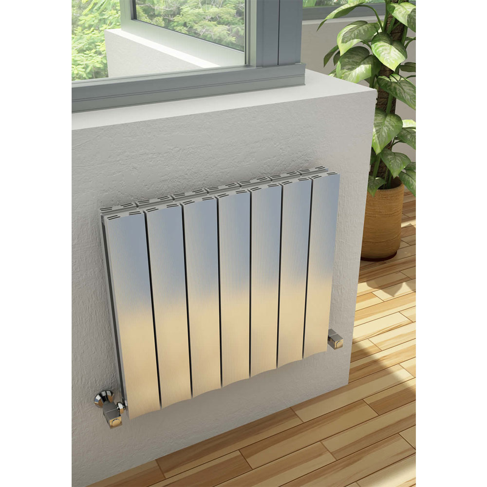 Reina Luca Horizontal Double Panel Aluminium Radiator - Polished Profile Large Image
