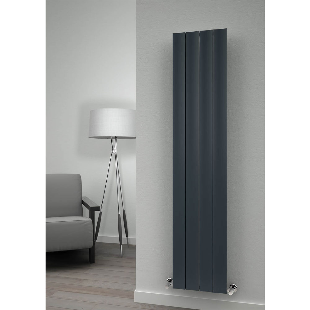 Reina Luca Vertical Single Panel Aluminium Radiator - Anthracite profile large image view 2