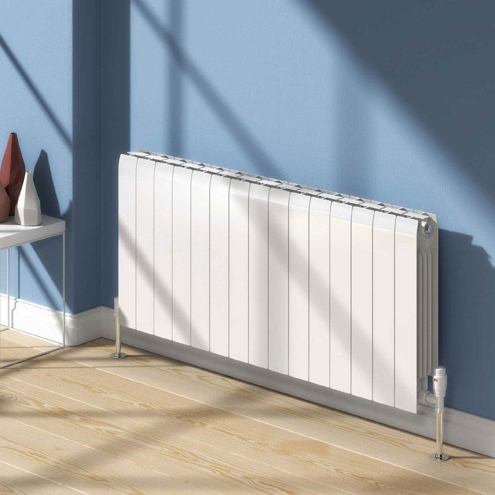 Reina Miray Horizontal Aluminium Radiator - White Large Image