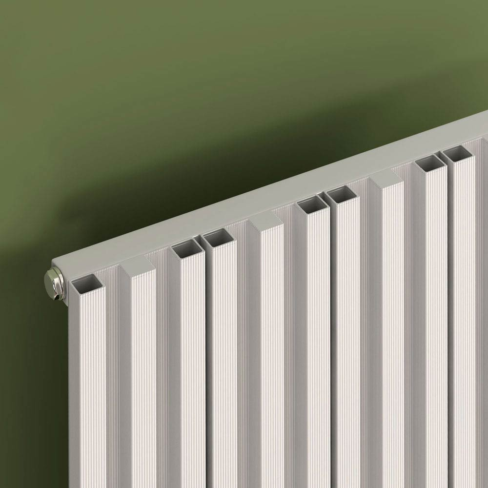 Reina Quadral Vertical Single Panel Aluminium Radiator - White  Profile Large Image