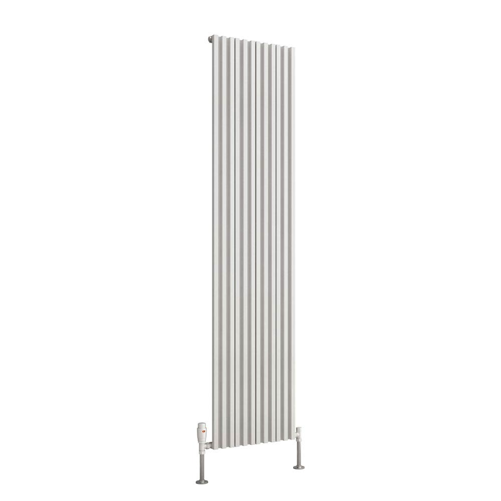 Reina Quadral Vertical Single Panel Aluminium Radiator - White  Feature Large Image