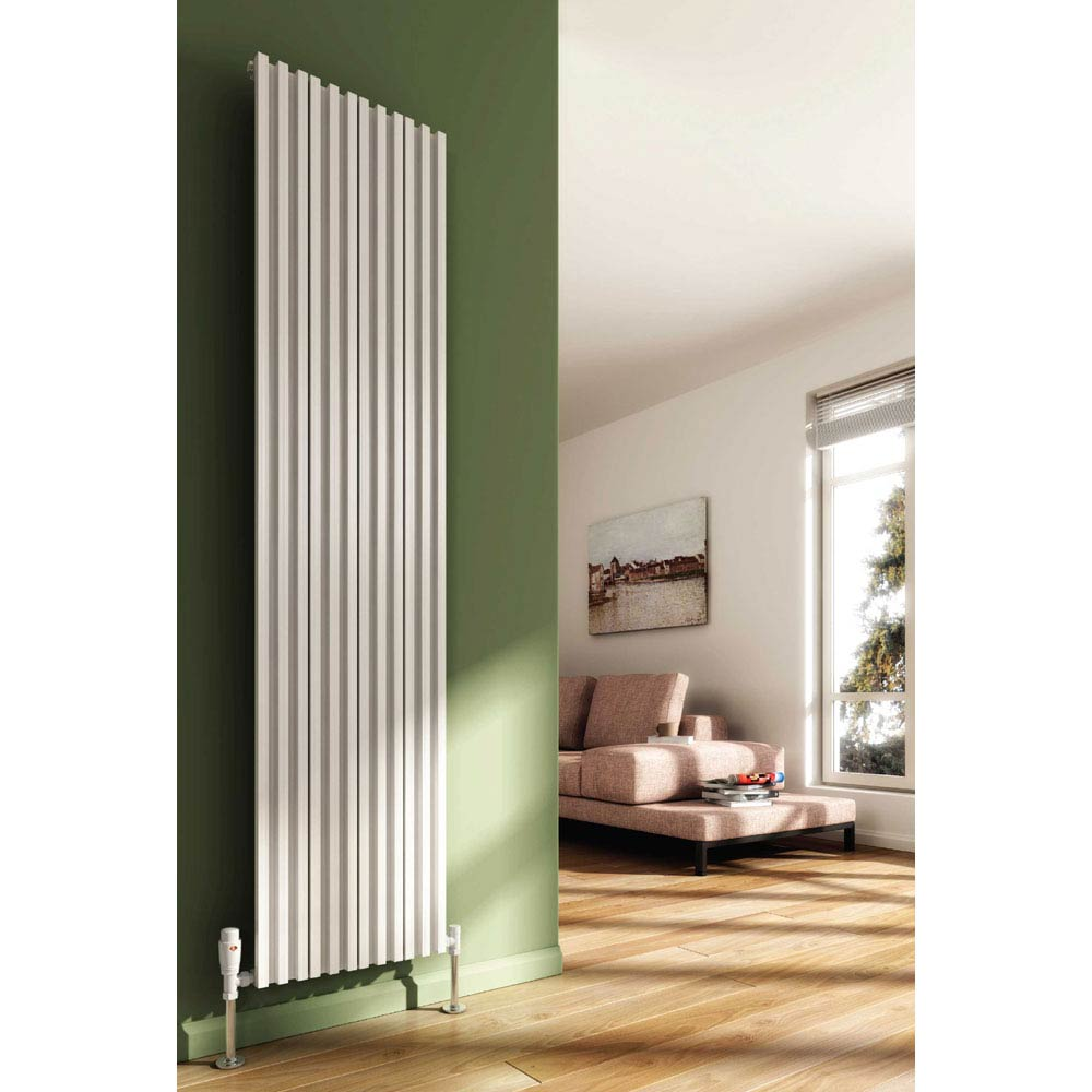 Reina Quadral Vertical Single Panel Aluminium Radiator - White Large Image