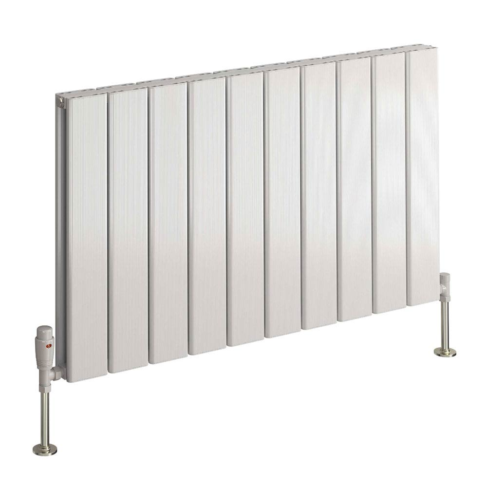 Reina Stadia Horizontal Double Panel Aluminium Radiator - White  Feature Large Image