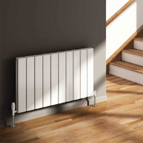 Reina Stadia Horizontal Double Panel Aluminium Radiator - White