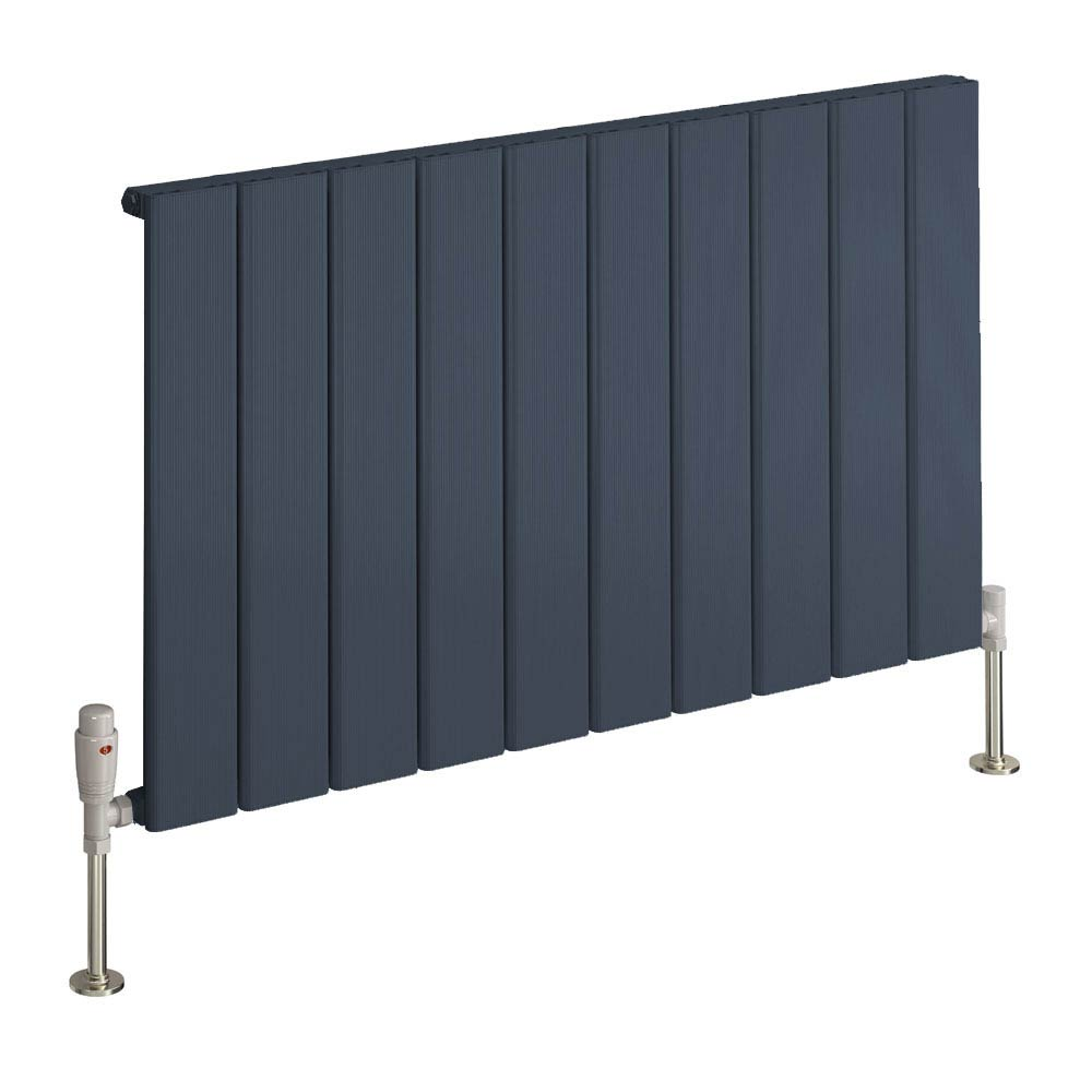 Reina Stadia Horizontal Single Panel Aluminium Radiator - Anthracite Large Image