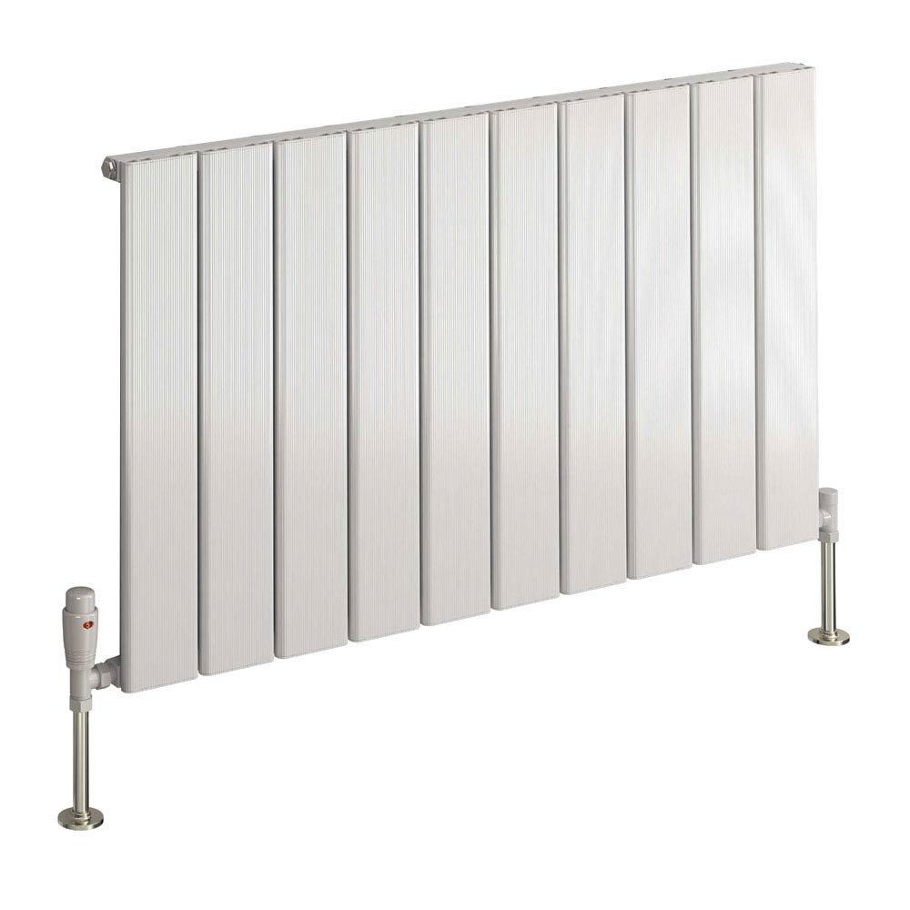 Reina Stadia Horizontal Single Panel Aluminium Radiator - White Large Image