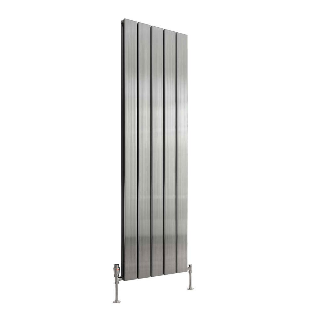 Reina Stadia Vertical Double Panel Aluminium Radiator - Polished profile large image view 3