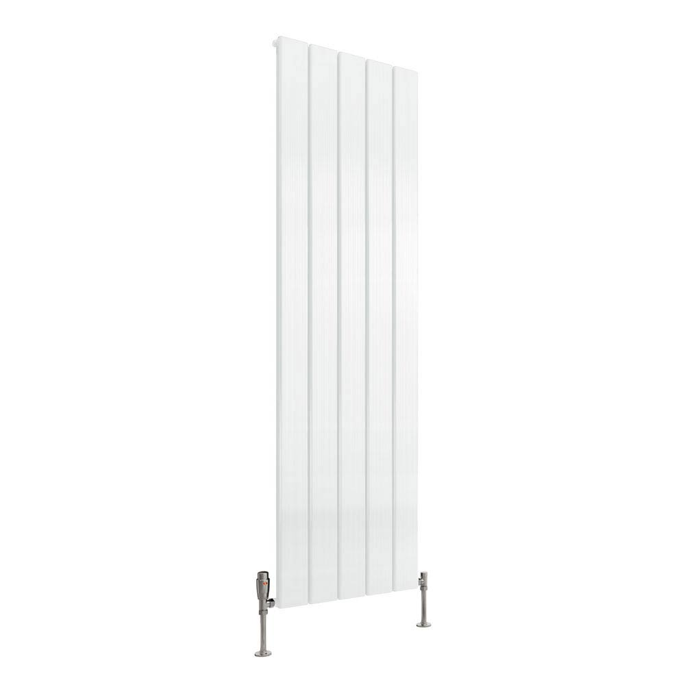Reina Stadia Vertical Single Panel Aluminium Radiator - White Large Image