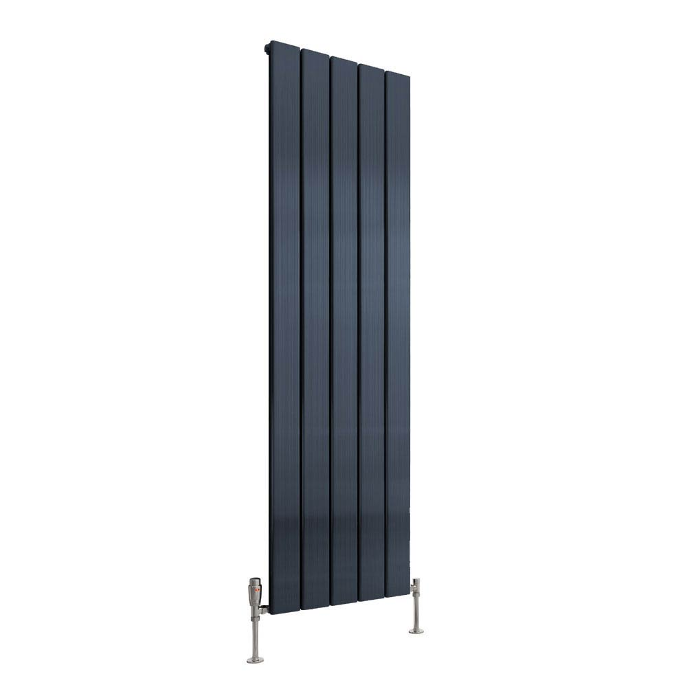 Reina Stadia Vertical Single Panel Aluminium Radiator - Anthracite profile large image view 1