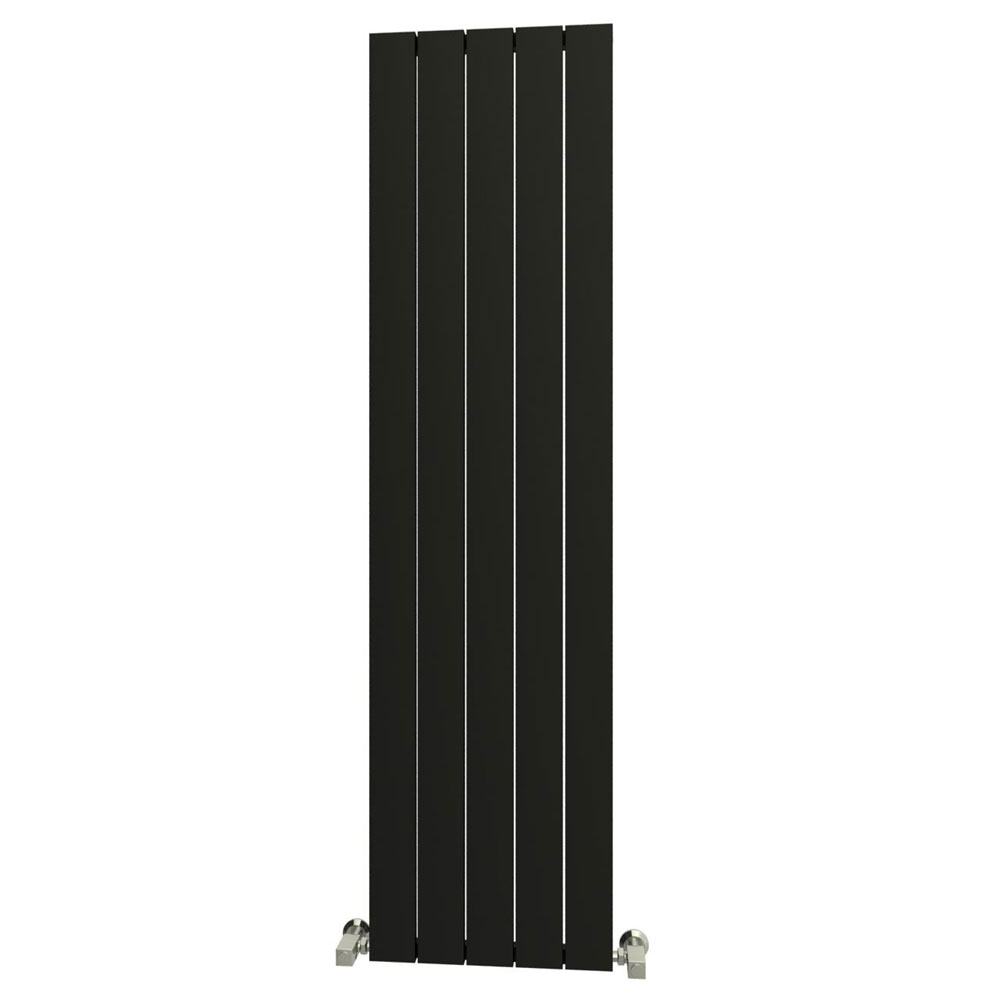 Reina Savona Vertical Aluminium Radiator - Black profile large image view 1