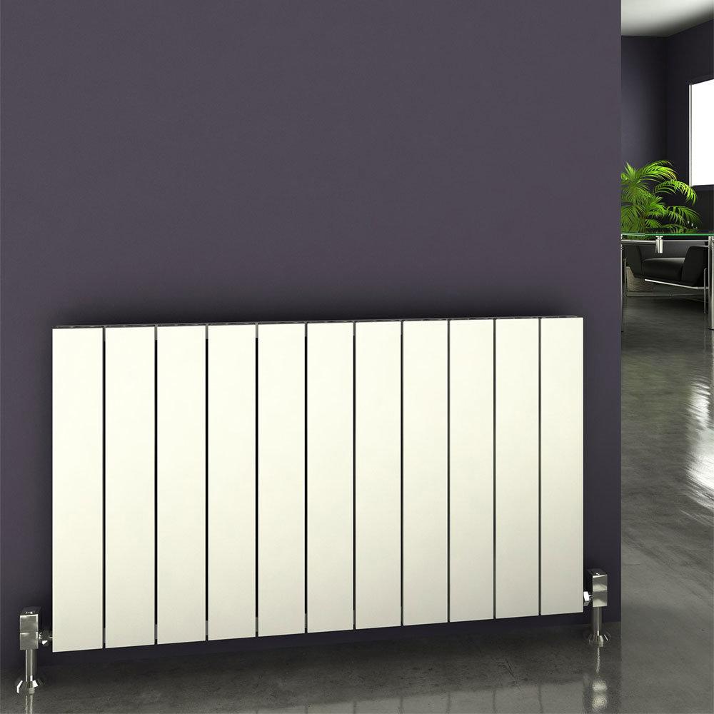 Reina Savona Horizontal Aluminium Radiator - Black Profile Large Image