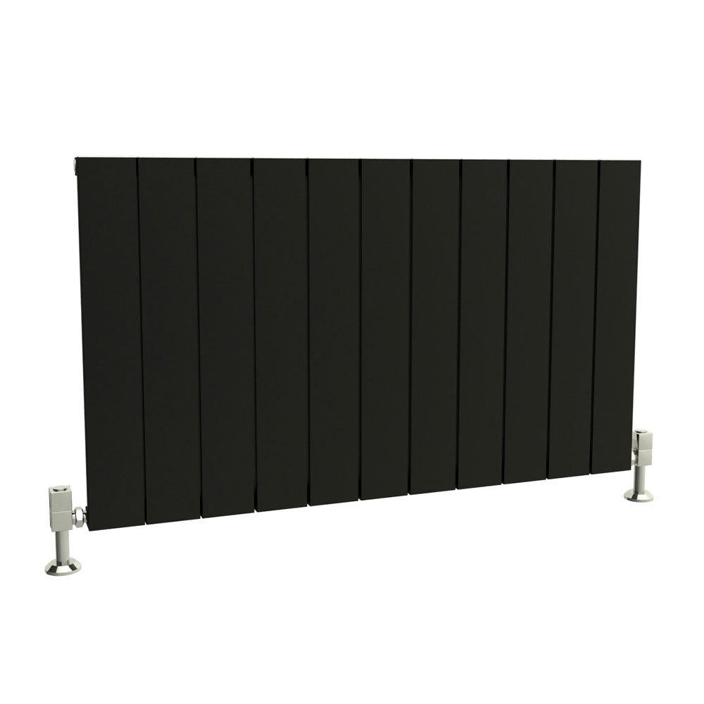 Reina Savona Horizontal Aluminium Radiator - Black Large Image
