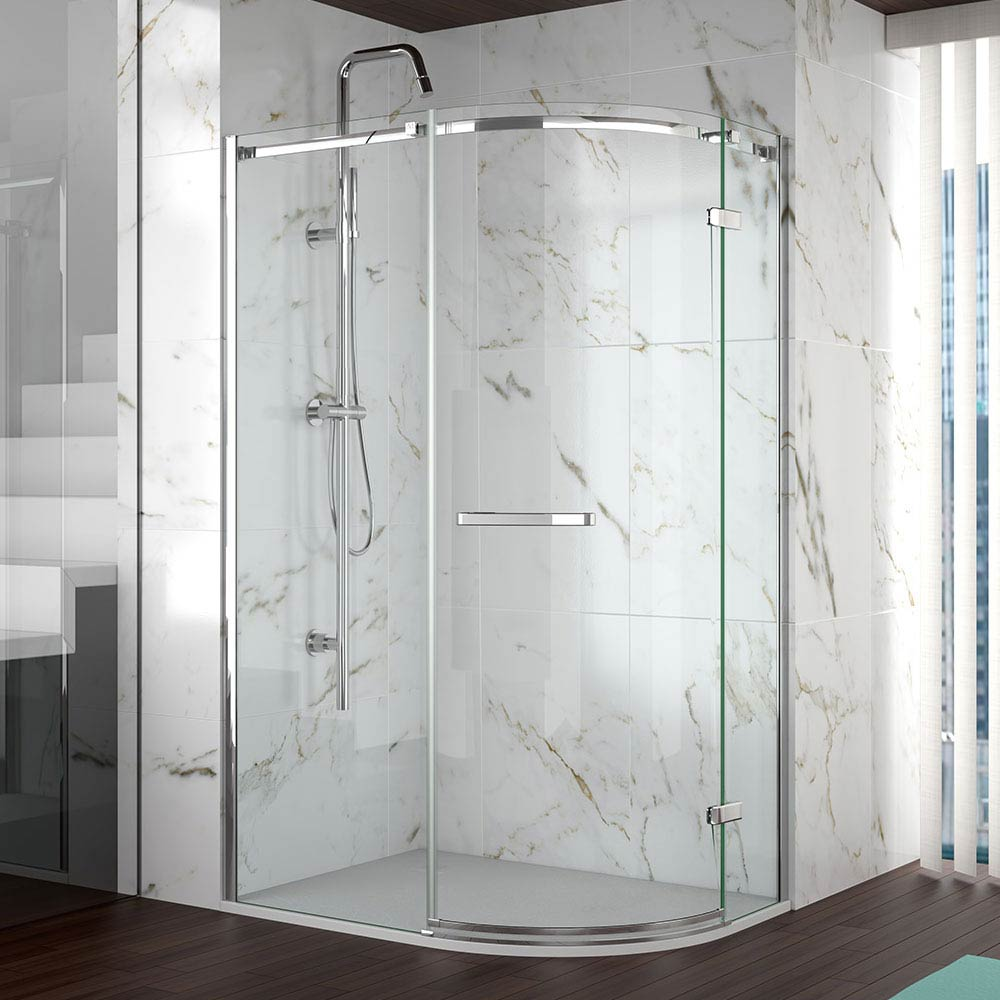 Merlyn 8 Series Frameless 1 Door Offset Quadrant Enclosure (900 x 760mm) Large Image