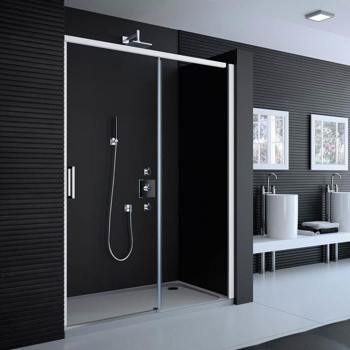 Merlyn 8 Series Colour Sliding Shower Door - Matt White Large Image