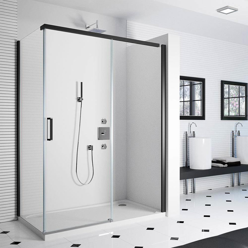 Merlyn 8 Series Colour Sliding Shower Door - Matt Black Large Image