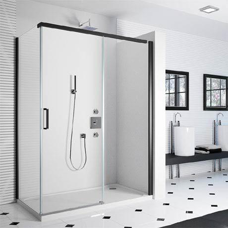 Merlyn 8 Series Colour Sliding Shower Door - Matt Black