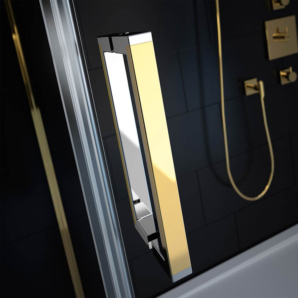 Merlyn 8 Series Colour Sliding Shower Door - Gold profile large image view 2