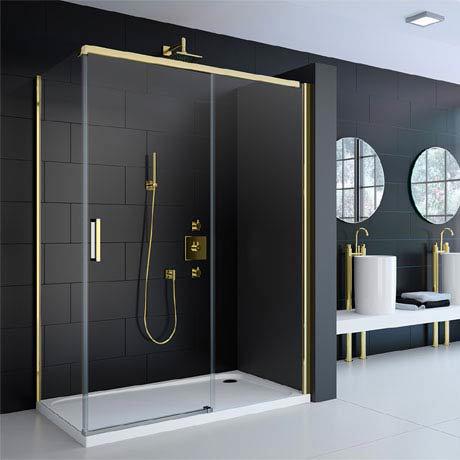 Merlyn 8 Series Colour Sliding Shower Door - Gold