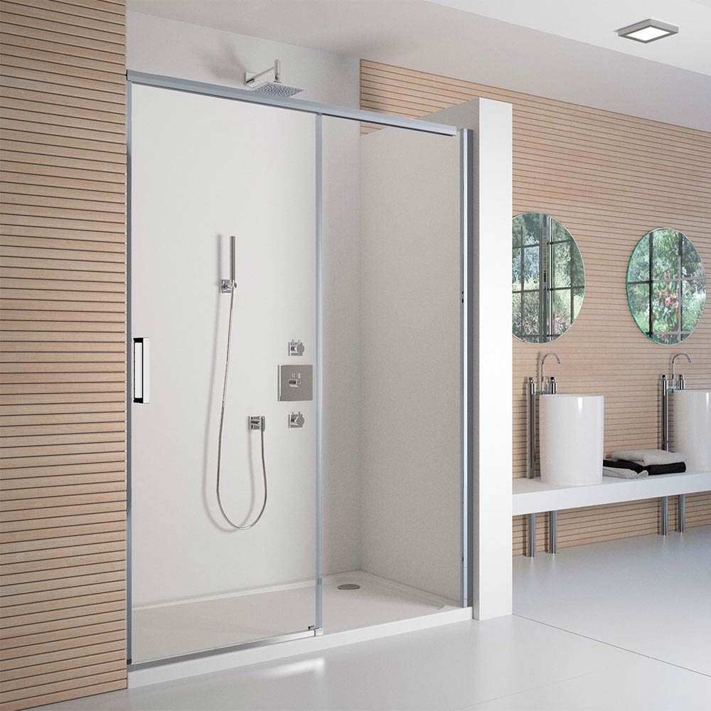 Merlyn 8 Series Colour Sliding Shower Door - Polished Chrome profile large image view 1