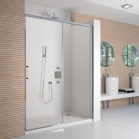 Merlyn 8 Series Colour Sliding Shower Door - Polished Chrome