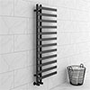 Arezzo Anthracite 1200 x 500mm 12 Bars Designer Heated Towel Rail profile small image view 1