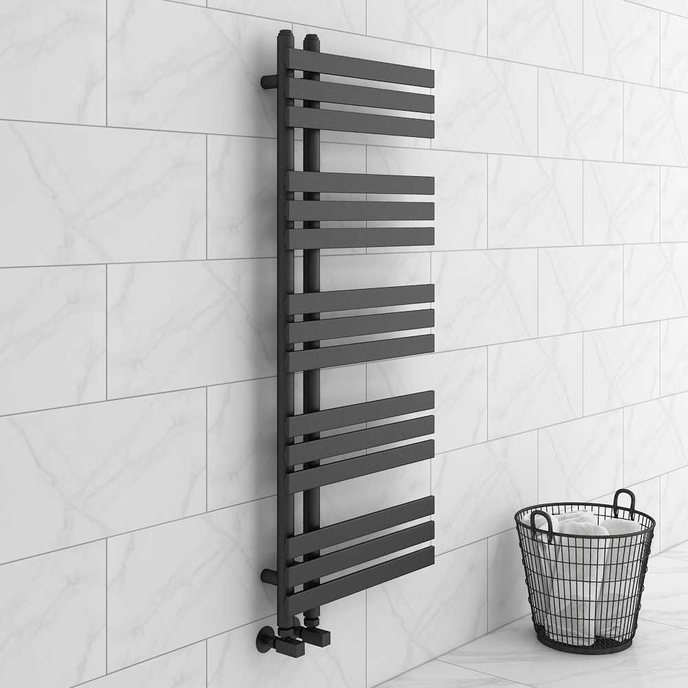 Arezzo Anthracite 1200 x 500mm 15 Bars Designer Heated Towel Rail