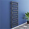 Arezzo Anthracite 1380 x 600mm Designer Towel Rail profile small image view 1