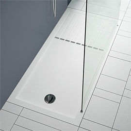 Aurora 1400 x 900mm Anti-Slip Stone Walk In Shower Tray With Drying Area