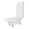 Appleby 1550 Roll Top Shower Bath with Screen + Chrome Leg Set profile small image view 1
