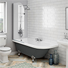 Appleby Grey 1700 Roll Top Shower Bath with Screen + Chrome Leg Set profile small image view 1