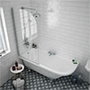 Appleby 1700 Roll Top Shower Bath with Screen + Chrome Leg Set profile small image view 1