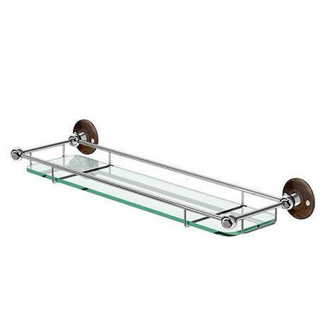 Burlington Glass Shelf with Guard Rail - Walnut - A18WAL