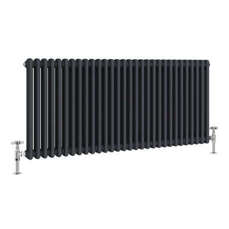 Keswick 600 x 1340mm Cast Iron Style Traditional 2 Column Anthracite Radiator
