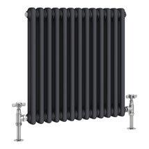 Keswick 600 x 592mm Cast Iron Style Traditional 2 Column Anthracite Radiator Medium Image