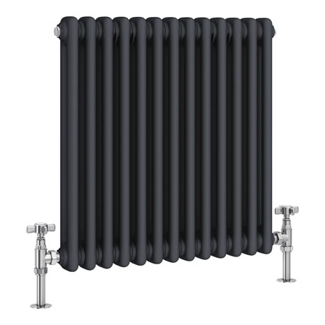 Keswick 600 x 592mm Cast Iron Style Traditional 2 Column Anthracite Radiator