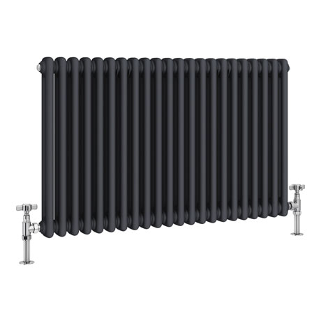 Keswick 600 x 988mm Cast Iron Style Traditional 2 Column Anthracite Radiator