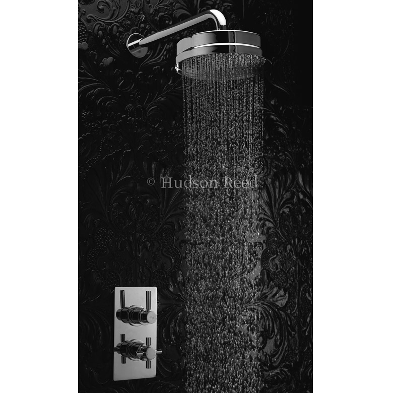 "Hudson Reed Tec Pura Twin Concealed Thermostatic Shower Valve w/ 8"" Fixed Head Large Image"