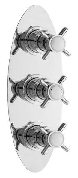 Ultra Beaumont Concealed Thermostatic Triple Shower Valve w/ Oval Plate - Chrome - BEAV03 Large Image