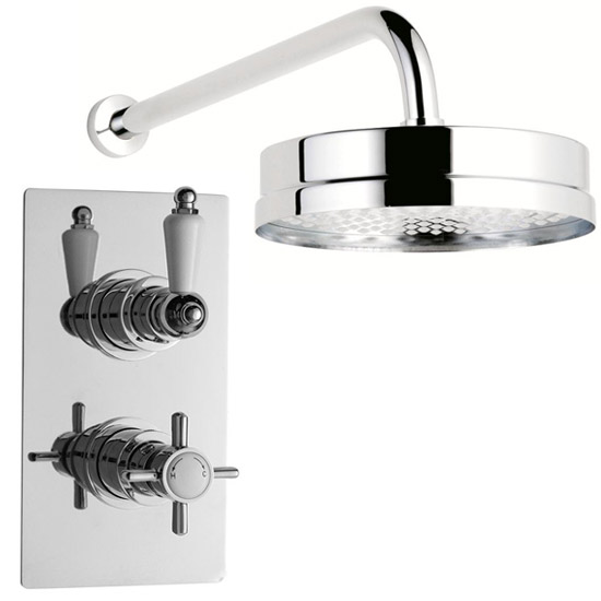 "Ultra Beaumont Twin Concealed Thermostatic Valve w/ Tec 8"" Apron Fixed Head Large Image"