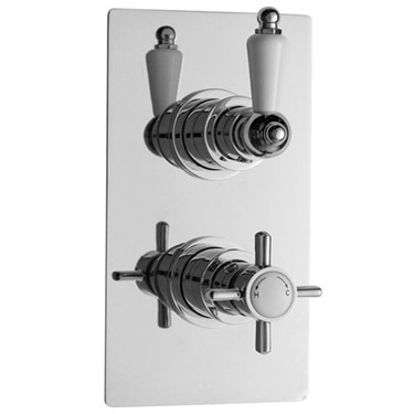 "Ultra Beaumont Twin Concealed Thermostatic Valve w/ 8"" Apron Fixed Head Feature Large Image"