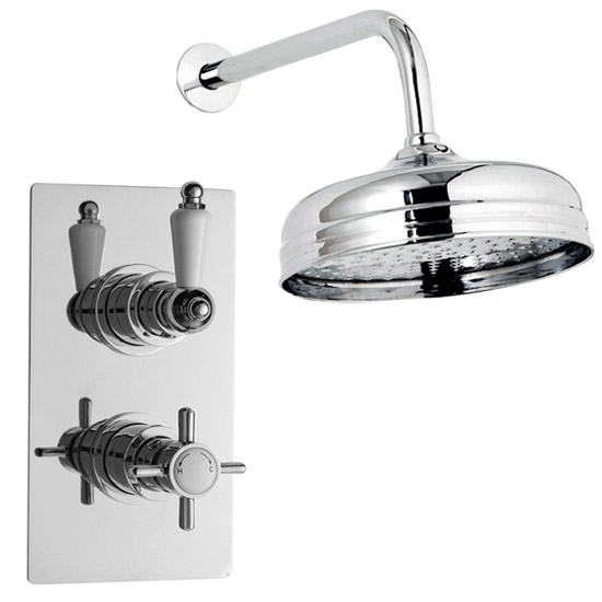 "Ultra Beaumont Twin Concealed Thermostatic Valve w/ 8"" Apron Fixed Head Large Image"