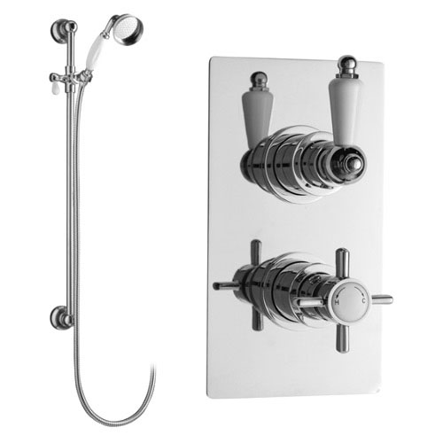 Ultra Beaumont Twin Thermostatic Shower Valve w/ Slider Rail Kit Large Image