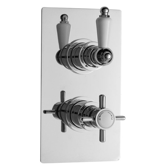 Ultra Traditional Beaumont Twin Thermostatic Shower Valve - Chrome - A3050 Large Image