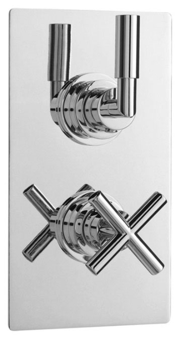 Helix Concealed Thermostatic Twin Shower Valve with Square Plate Large Image