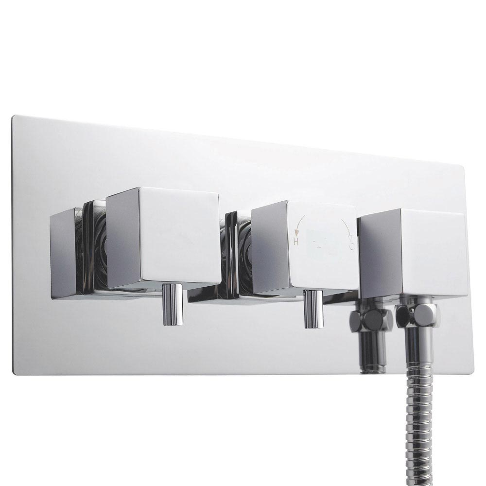 Ultra Volt Twin Concealed Thermostatic Shower Valve with Diverter & Outlet - A3077 Large Image
