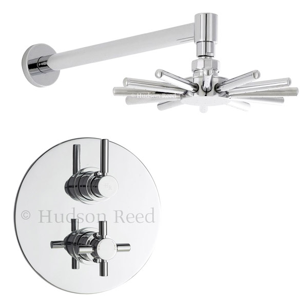 Hudson Reed - Tec Twin Concealed Thermostatic Shower Valve with Cloudburst Head Large Image