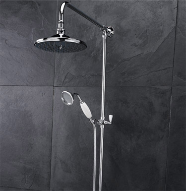 Hudson Reed Traditional Twin Valve Inc. Grand Rigid Riser Kit & Shower Rose Feature Large Image